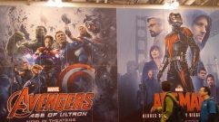 Back of Marvel stage covered in upcoming movie posters.